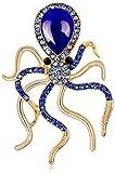 FOPUYTQABG - Juego de alfileres de aleación de pulpo azul de estilo a la moda con pedrería - Piedras preciosas para bufandas exqu
