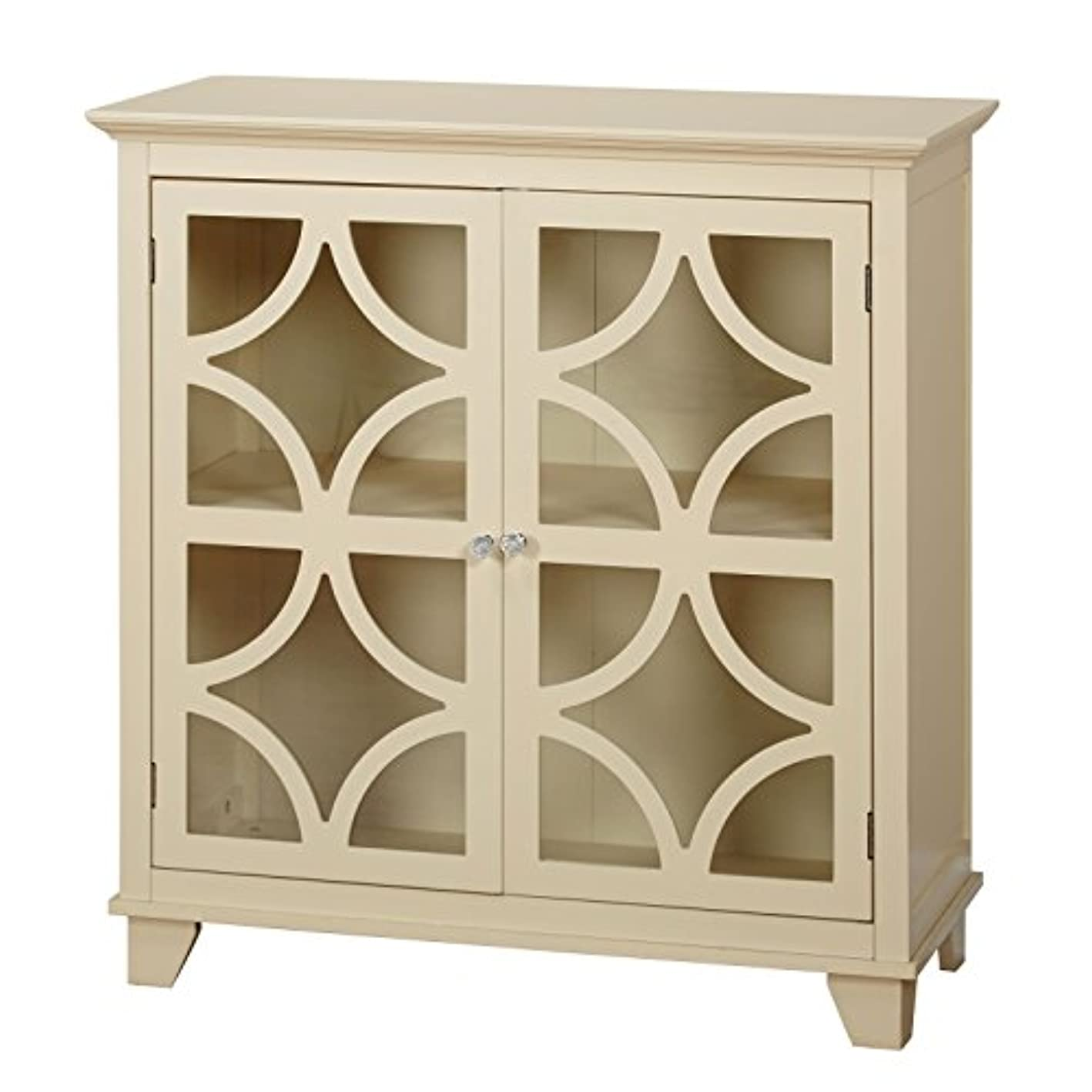 Target Marketing Systems Sydney Accent Storage Cabinet with Trellis Overlay Glass Doors and 2 Shelves, Ivory