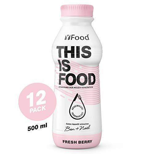 YFood Berry, pasto pronto da bere | Pasti sostitutivi senza glutine né lattosio | 34 g di proteine, 26 vitamine e minerali |25% del fabbisogno caloric