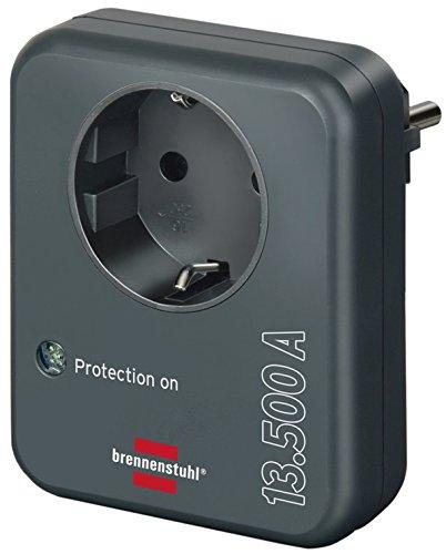 Brennenstuhl stekkeradapter, met overspanningsbeveiliging, 13.500 A, adapter als bliksembeveiliging voor elektrische apparaten, antraciet