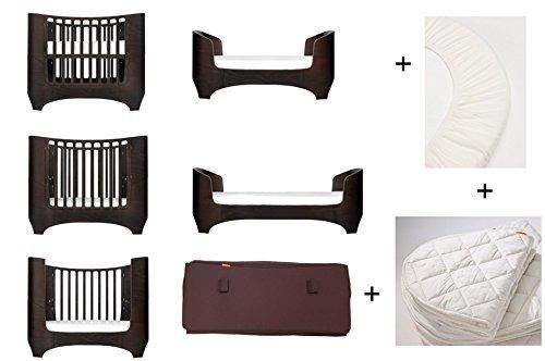 walnuss Leander Baby- und Juniorbett + 1 Set (= 2 Stück) Original-Spannbetttücher in der Babygröße + 1 Matratzenauflage in der Babygröße + Babynestchen in warm purple