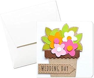 Wedding Day - Matrimonio - vasetto di fiori - biglietto d'auguri (formato 12 x 12 cm) - vuoto all'interno, ideale per il t...