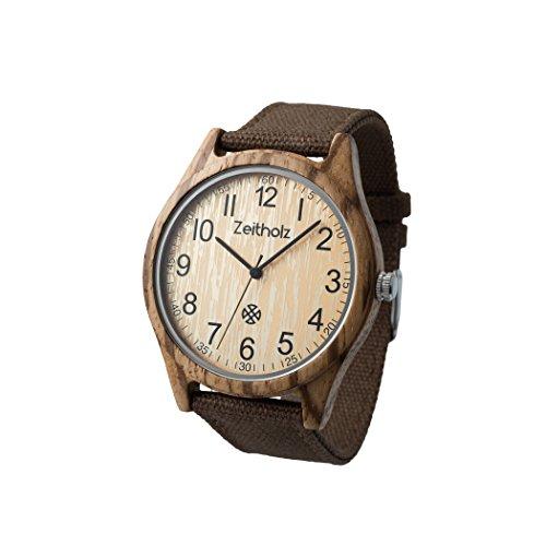 ZEITHOLZ - Orologio unisex, modello Altenberg - Cassa di legno di zebrano, cinturino regolabile in tela - Marrone scuro - Leggero, orologio robusto ed elegante - Uomo o Donna