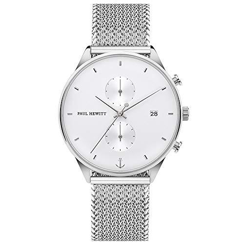 PAUL HEWITT Cronografo uomo e donna Chrono Line White Sand - orologio da polso uomo e donna (argentato) con cronometro e cinturino in maglia a rete d'acciaio (argento) unisex, quadrante bianco
