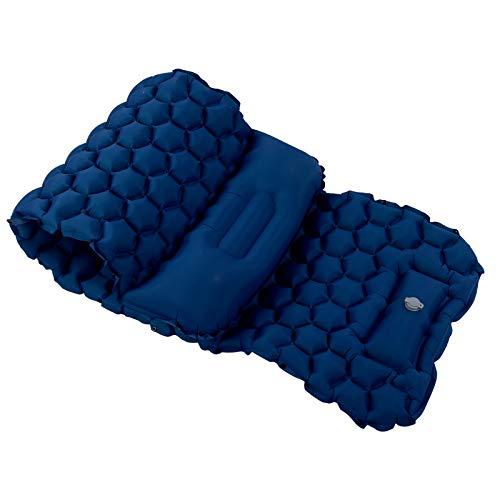 Cojín Inflable, colchoneta para Dormir portátil Resistente al desgarro, tamaño pequeño para Tiendas de campaña y hamacas para Acampar al Aire(Navy Blue)