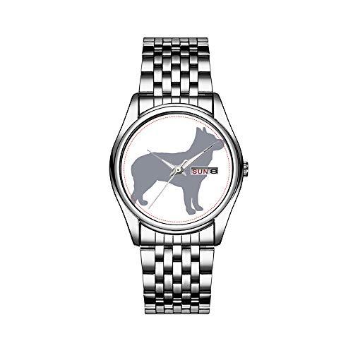 Reloj de pulsera para hombre de lujo, resistente al agua, 30 m, con fecha, reloj de pulsera deportivo, de cuarzo, informal, regalo australiano, Stumpy Tail Cattle Dog Silo Blue.png
