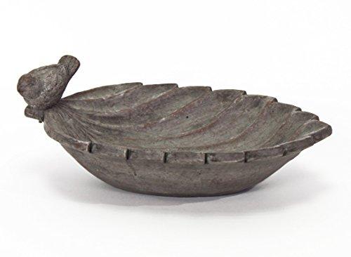 V37954 Abreuvoir en forme de feuille en céramique avec oiseau décoratif