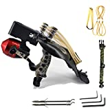 ZTMDF Powerful Hunting Fishing Slingshot Kit,Aluminum Alloy High Velocity Catapult,with Infrared Sight and Fishing Reel Wrist Rocket Slingshots,with 4 Rubber Bands for Adults.