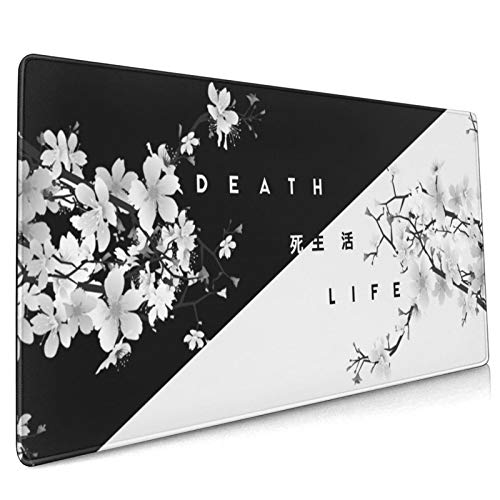 Black and White Cherry Blossom Gaming Mouse Pad, 35.4 X 15.7 in Large Non-Slip Rubber Mouse Mat, Stitched Edges Desk Pad Decor