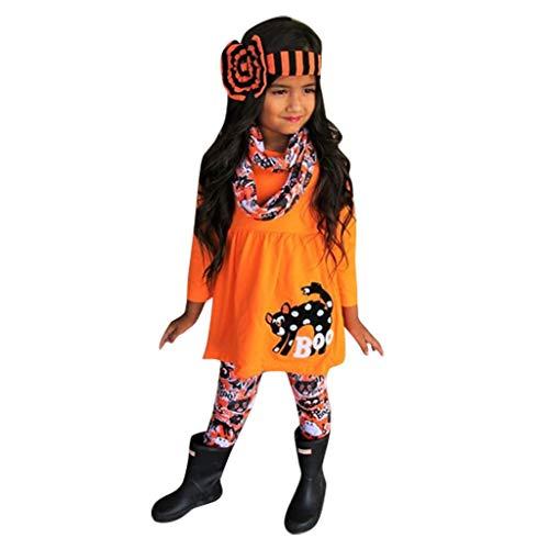 Vestido de Princesa Niña,Bebe Calabaza de Dibujos Animados de Niña de Halloween Impresión Camiseta Vestido Vintage de Manga Larga Conjunto de 4 Piezas Riou