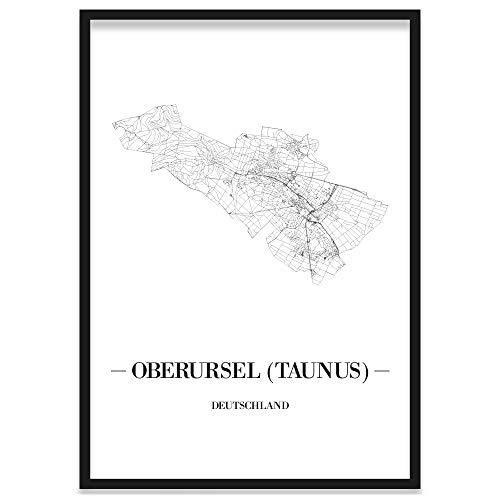 JUNIWORDS Stadtposter, Oberursel (Taunus), Wähle eine Größe, 21 x 30 cm, Poster mit Rahmen, Schrift A, Weiß