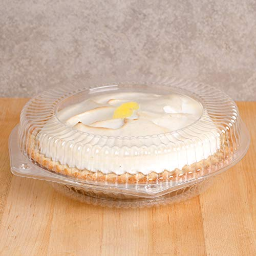 10' Plastic Disposable Pie Containers with Hinged Locking Lids   5 Round Pie Keepers / Flan Containers for Transport