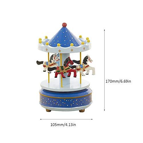 selfdepen Hölzerne Karussell-Spieluhr, handbemalt, umweltfreundlich ungiftige Sprühfarbe Sky City konische Klassische Spieluhr Geburtstagsgeschenk - 6