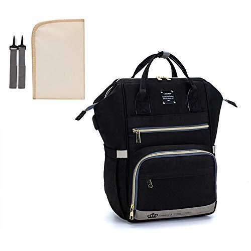 Wickeltaschen-Rucksack, große Kapazität, wasserdicht, mit Kinderwagenhaken und USB-Ladeanschluss