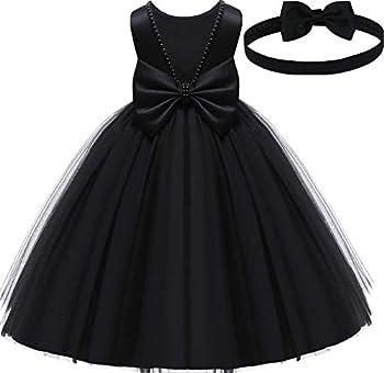 Baby Flower Girl Party Wedding Black Dress Sleeveless Floor Length Tutu Tulle Dance Gown 12 Months 1st Birthday