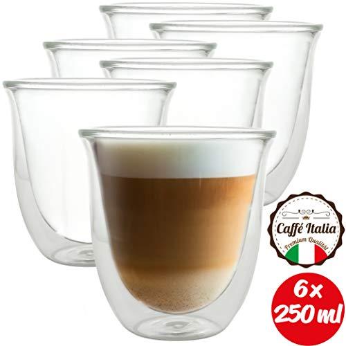 Caffé Italia Napoli - 6X Tasse Verre Double Paroi 250 ML - Tasse a Cafe pour de Latte Macchiato, Boissons Chaudes et Froides - Lavable au Lave-Vaisselle.