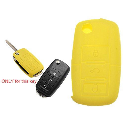 Tuqiang® 1 coque de clé pliante à 3 boutons en silicone jaune pour VW Golf Polo Touran Passat