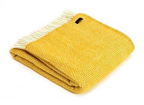 Tweedmill Textiles Decke / Überwurf, 100 % Schurwolle, Farbe: Bienenstock, Design in Senfgelb, hergestellt in Großbritannien