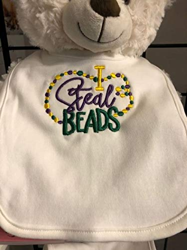 Mardi Gras bib embroidered, customized