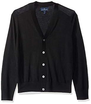 Amazon Brand - Buttoned Down Men s Italian Merino Wool Lightweight Cashwool Cardigan Sweater Black Large