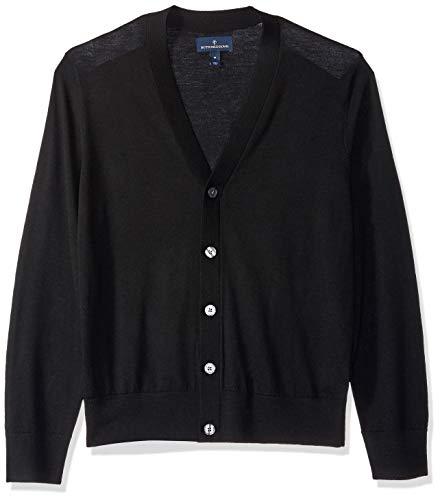 BUTTONED DOWN Men's Italian Merino Wool Lightweight Cashwool Cardigan Sweater, Black, Medium
