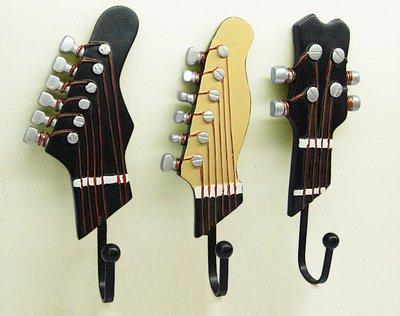 Vejaoo Juego de 3 Ganchos Decorativos Guitarra Forma Vintage Perchero de Pared para Colgar Abrigos/Teclas/Bolsa