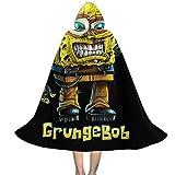 OJIPASD Parody de Bob Esponja Grungebob - Capa con capucha para niños, unisex, para Halloween, Navidad, decoración de fiestas, disfraces de cosplay