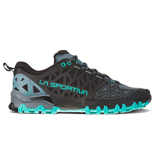 La Sportiva Women's Bushido II Trail Running Shoes, Slate/Aqua, 39.5