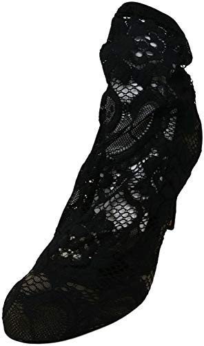 Dolce and Gabbana Women's Stretch Lace Ankle Boot Black High-Top Fabric - 8.5 M