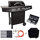 TAINO Basic 3 + 1 gas grill set incl. Cover / pressure reducer / cast-iron grill plate grill / grill-cutlery trolley BBQ hindi kinakalawang na asero burner side cooker gas grill TÜV Schwar