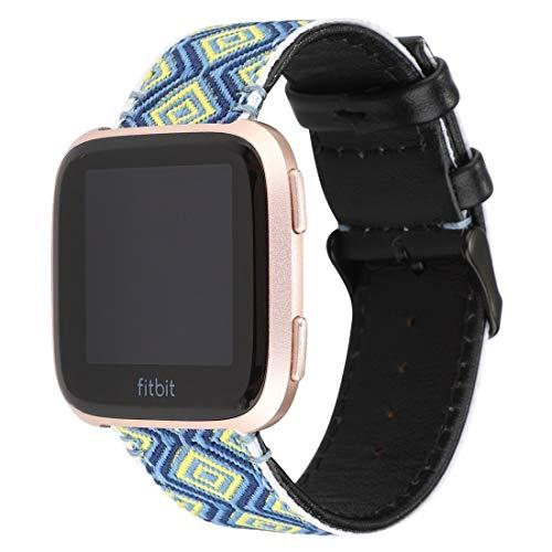 Unbekannt Herren-Armbanduhr FGH für Fitbit Versa Ethnic Style Echtleder Armband (bunt)