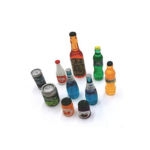 LENDENPORT Miniature Drink Bottles Dollhouse Decoration Kitchen Accessories 10 Pcs Mix