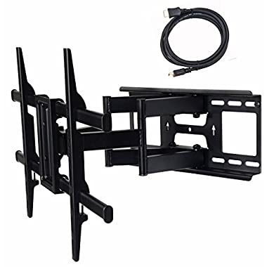 VideoSecu MW380B3 Full Motion Articulating TV Wall Mount Bracket for most 37 -70  LED LCD Plasma HDTV up to 125 lbs with VESA 684x400 600x400 400x400 200x200mm, Dual Arm pulls out up to 16  AW8