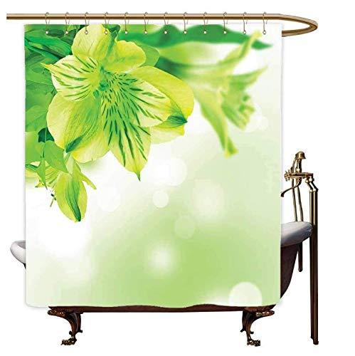 VYEKL Lilien-Blumen-Blüte mit Blättern Bokeh-Hintergr&-Gartenpflanzen, lindgrüner apfelgrüner Duschvorhang 180 * 200Cm