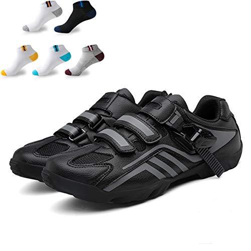 XFQ Zapatos De Ciclo De Los Adultos, Unisex Informal Carretera Bicicleta De Zapatos Anti-Slip No Lock Transpirable Amortiguación Senderismo con 5 Pares De Calcetines Deportivos,Gris,42EU