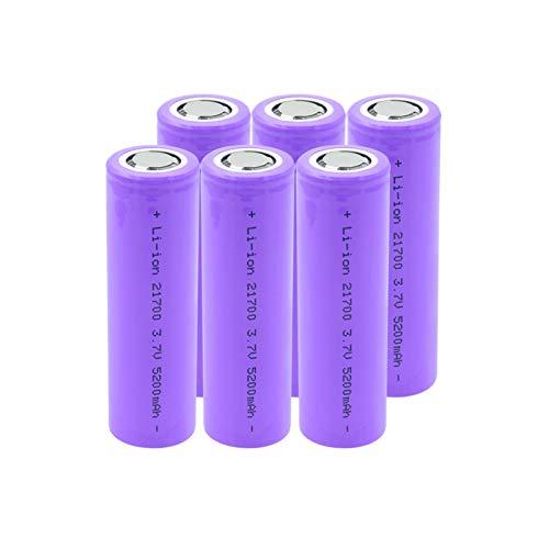 HTRN 3.7v 5200mah 21700 Batería De Iones De Litio, Celda De Iones De Litio Recargable De Alto Drenaje para Antorcha 6pcs
