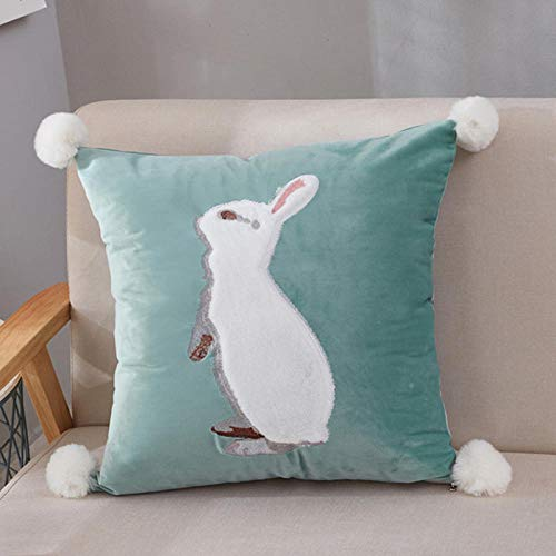 Pastoral American Rabbit Embroidered Patch Butterfly Sofa Cotton Cushion Square Pillow Case@Rabbit patch embroidered blue green_55*55cm [large pillowcase only]