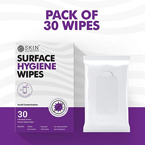 Skin Elements Surface Hygiene Wet Wipes – For Mobiles, Door Knobs, Car steering, Keyboard and other surface (Pack of 30 Individually packed wipes)