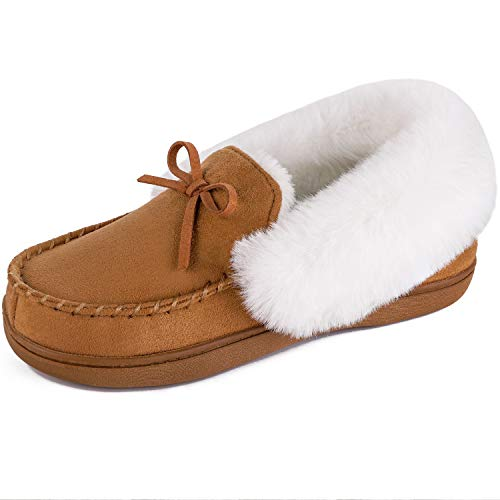 HomeIdeas Women's Faux Fur Lined Suede Comfort House Slippers, Anti-Slip Winter Indoor/Outdoor Moccasin Shoes (11 B(M) US, Brown)