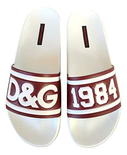 Dolce & Gabbana Chanclas de banda para hombre de goma CS1489 AN291 8T092, color blanco Blanco Size: 43 EU