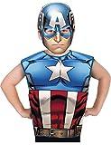 Marvel - Disfraz de Capitán América set de fiesta camiseta + máscara, talla única S-M 3-6 años (Rubie's 620969)