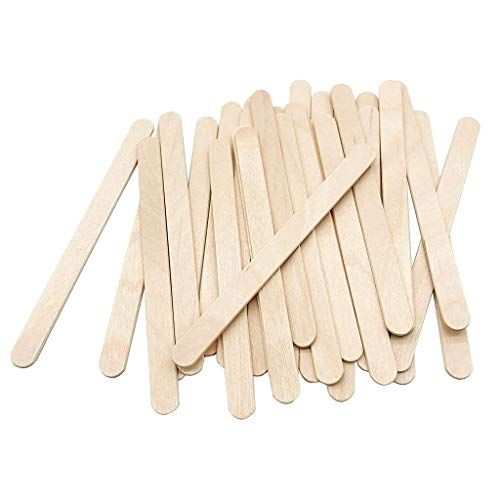 Maxpex 100 Pcs Craft Sticks Ice Cream Sticks Natural Wood Stick Craft Sticks Popsicle Sticks Waxing Spatulas Ice Cream Candy Making and Garden, Smooth Splinter-Free Wooden Sticks
