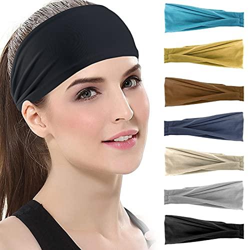 7 Stück Haarband Damen, Elastisch Baumwolle Breit Haarreifen, Rutschfestes Atmungsaktives Schweißband Sport Stirnbänder für Alltag Makeup Yoga Sport Fitness
