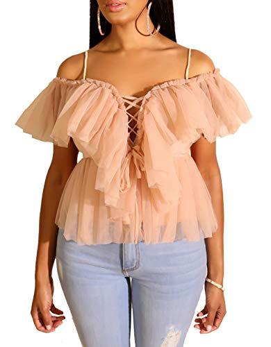 Blansdi Women Off Shoulder Deep V Neck Lace Up Spaghetti Strap Mesh Ruffles Peplum Tops Blouse Shirt Apricot X-Large