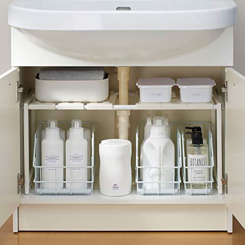 洗面下のサイズに合わせて、幅50~75cmの間で伸縮することができます。棚の高さも3cm間隔でスペースに合わせて調節可能。工具不要で組み立て簡単なのもうれしい。