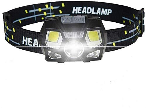 GARDOM Linterna Frontal Recargable USB, Linterna Cabeza LED 450 Lumens, 5 Modos de Iluminación, Sensor Inteligente, Angulos Ajustables, Impermeable para Ciclismo Correr Pescar Acampa Corriendor