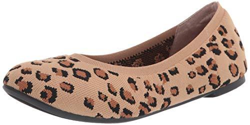 Amazon Essentials Women s Ballet Flat  Leopard Knit  6 Wide US
