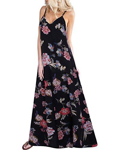 Kidsform Damen Sommerkleider Blumen Maxi Kleid Ärmellos Abendkleid Strandkleid Party Chiffon Lange Kleid A-schwarz XXL