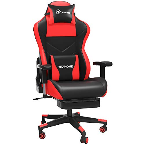 YITAHOME Massage Gaming Chair with Footrest Big and Tall 380lbs Heavy Duty Ergonomic Video Game Chair High Back Office Computer Chair Racing Style with Headrest and Lumbar Support,Red