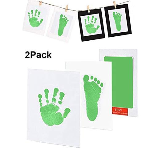 Girls'love talk Kit de Almohadillas de Tinta para Impresiones de Manos de Bebé,2Paquetes Kits de Tinta de Impresión de Pata de Mascota Pequeña(Negro y Verde)(Verde)